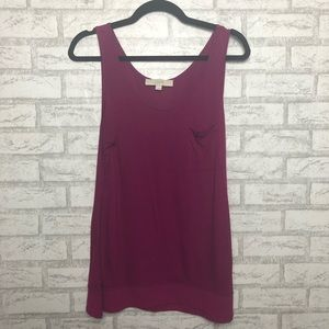 Fuchsia Ann Taylor Tank Top with Pocket
